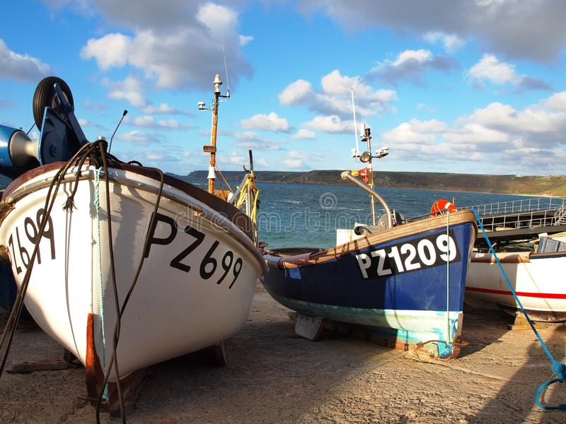 Fishing Boats Sennen Cove Cornwall royalty free stock images