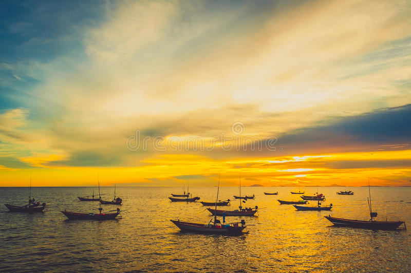 Download Fishing boats at sunset stock image. Image of colorful - 25951783