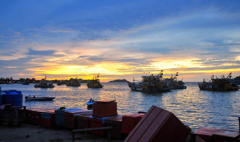 Fishing Boats At Sunset In Kota Kinabalu stock images