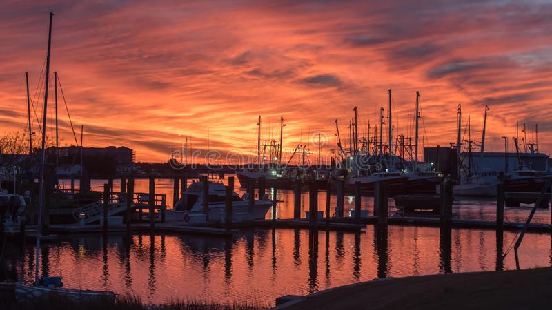 Fishing boats at sunset in Marina stock photos
