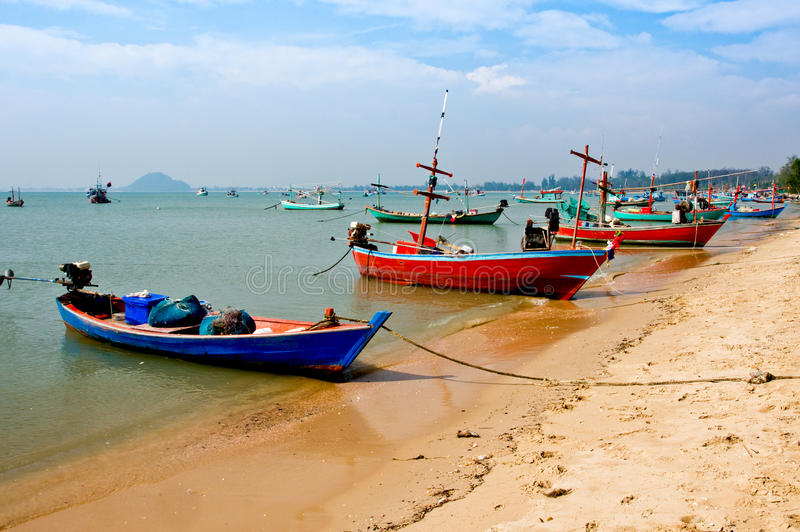 Fishing boats in Thailand stock images