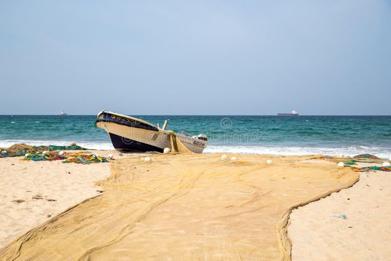 Fishing boats at Trincomalee Beach, Sri Lanka royalty free stock images