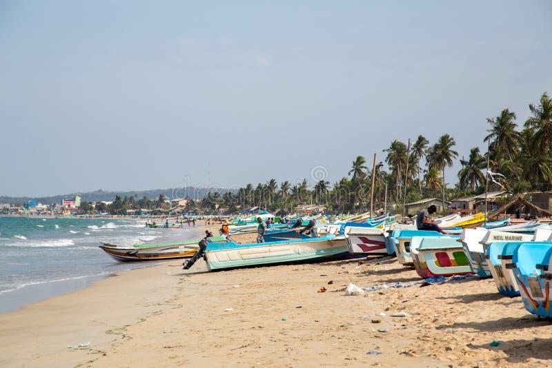 Fishing boats at Trincomalee Beach, Sri Lanka stock image