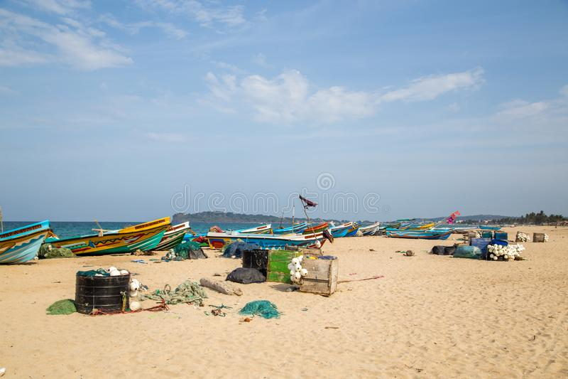 Fishing boats at Trincomalee Beach, Sri Lanka stock images