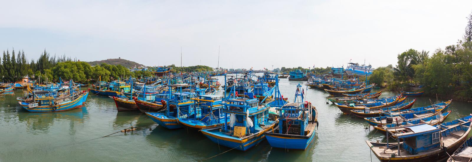Fishing boats in Vietnam stock photography