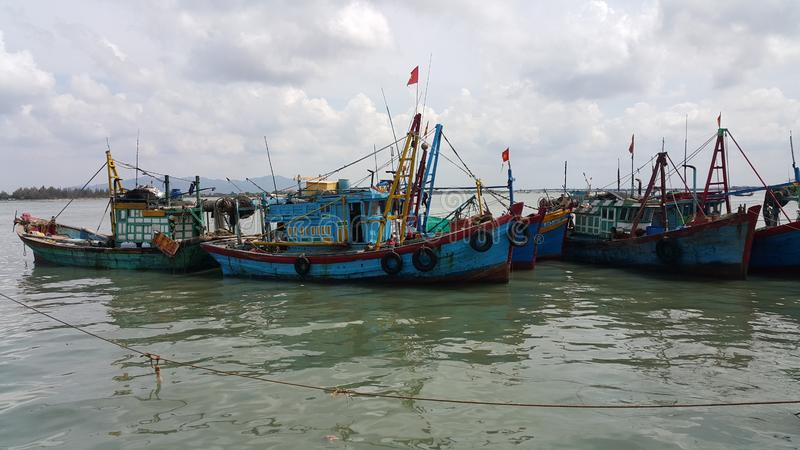 The fishing boats in Vietnam stock photos