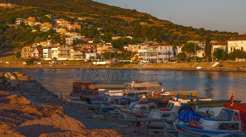Fishing Boats and Village stock photo