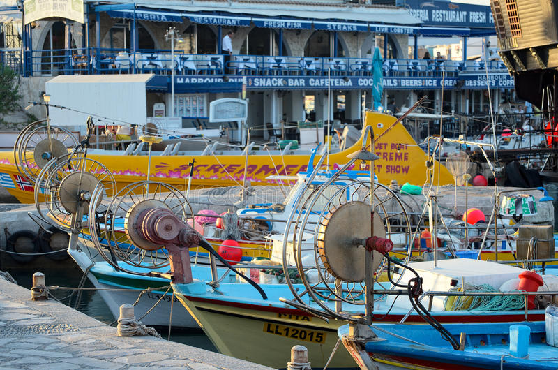 Fishing boats and yachts, Ayia Napa, Cyprus royalty free stock images