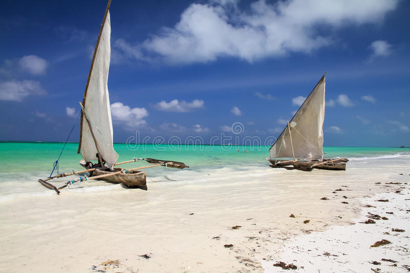 Fishing boats in Zanzibar royalty free stock photography