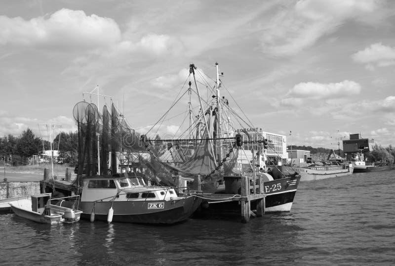 Fishing boats. Zoutkamp royalty free stock image