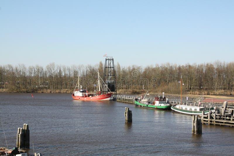 Fishing boats in Zoutkamp stock photo