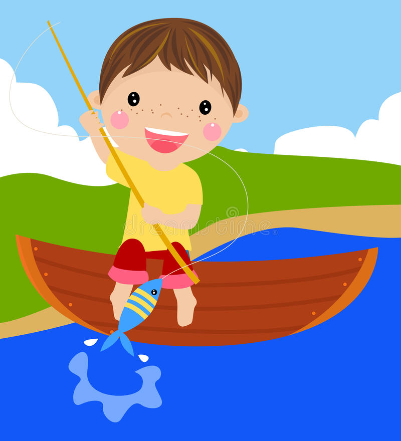 Download Fishing boy stock vector. Illustration of shore, male - 24745696