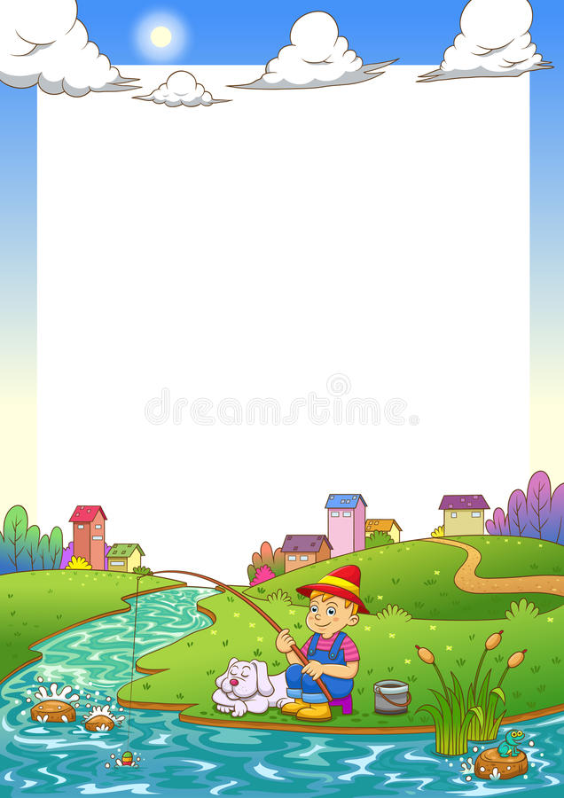 Free Fishing Boy Frame. Stock Images - 34357534
