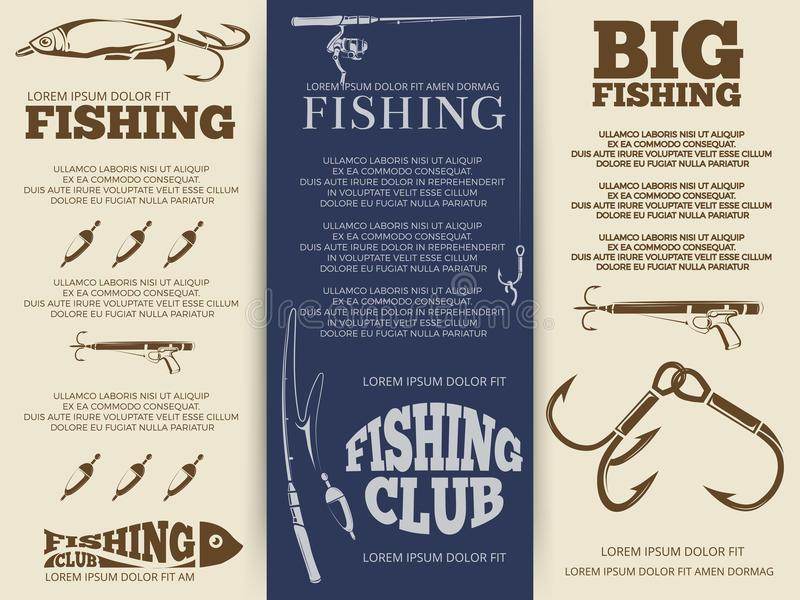 Fishing brochure or banners. Big fishing brochure or banners template design. Poster of set vector illustration royalty free illustration