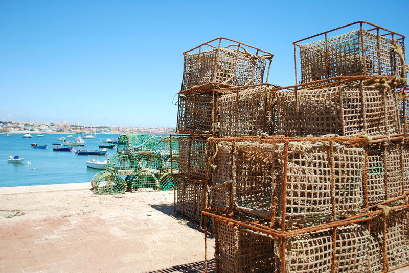 Fishing cages. Background of fishing cages in the port of Cascais, Portugal royalty free stock photo