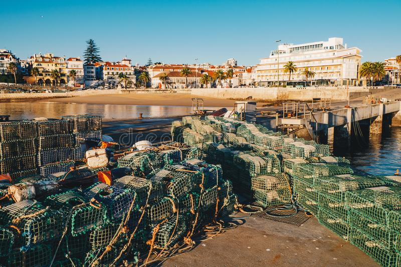Fishing cages in Cascais, Lisbon, Portugal. In Cascais, Lisbon district, Portugal stock photo
