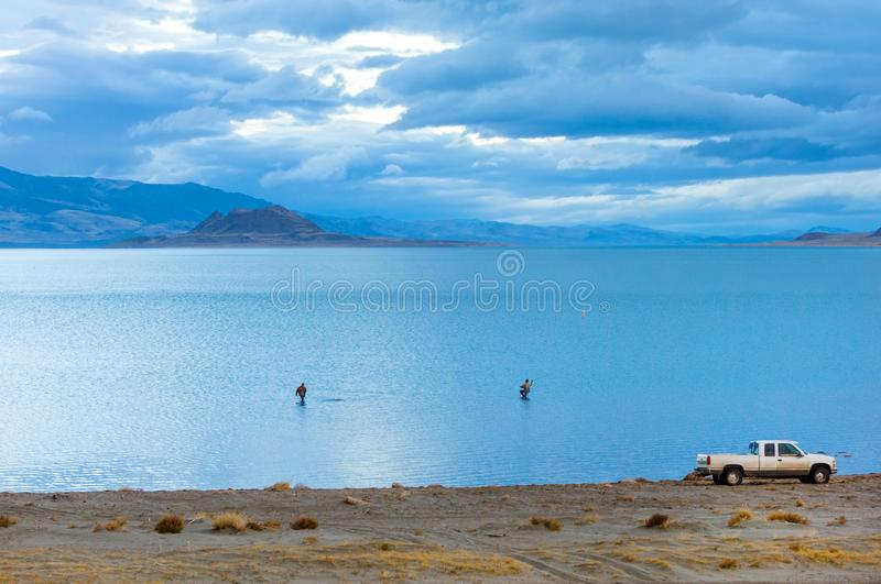 Pyramid lake in early morning stock images