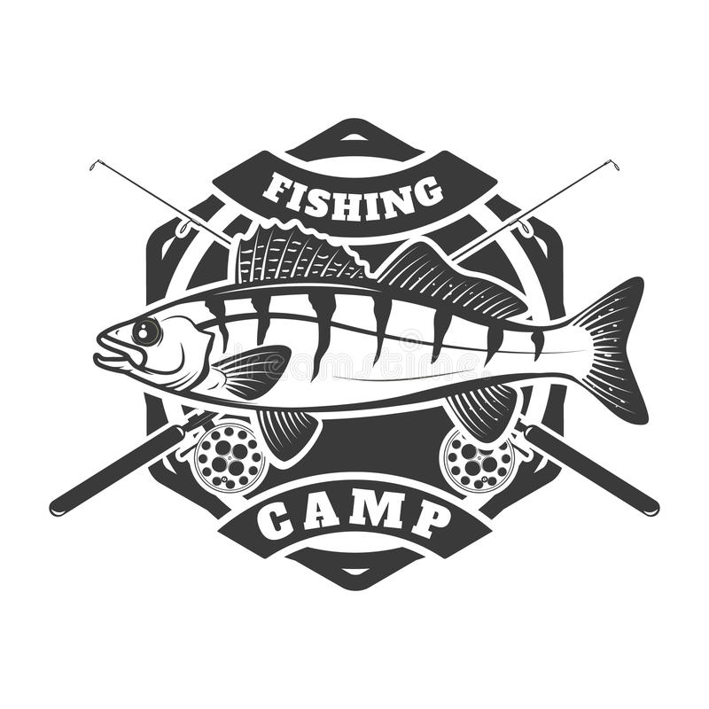 Fishing camp emblem template on white background. Pike perch fi. Sh with two crossed fishing rods. Vector illustration stock illustration
