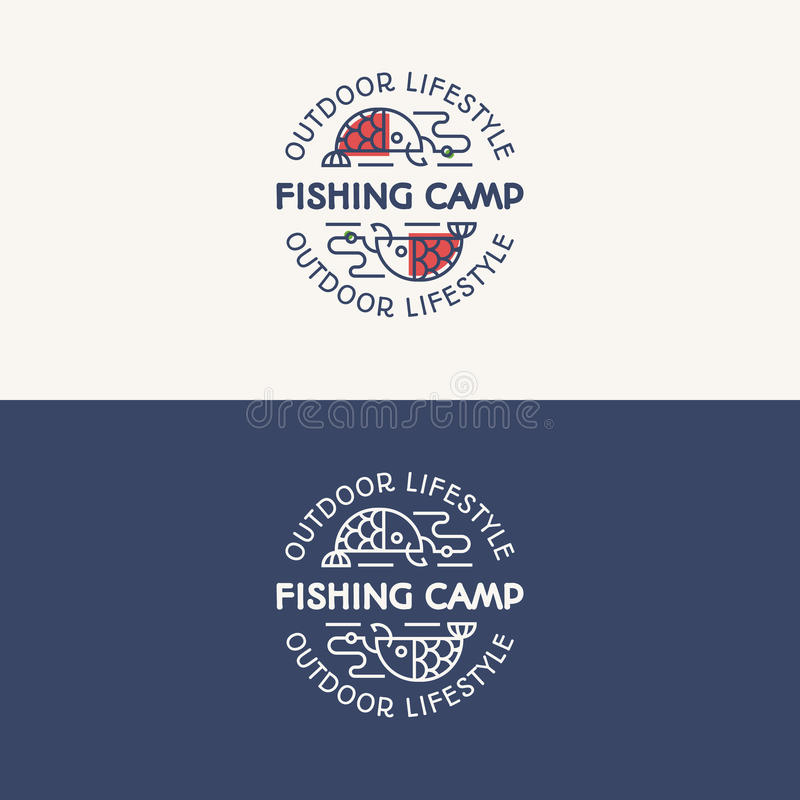 Fishing camp logo set consisting of fish on the hook for explore stock illustration