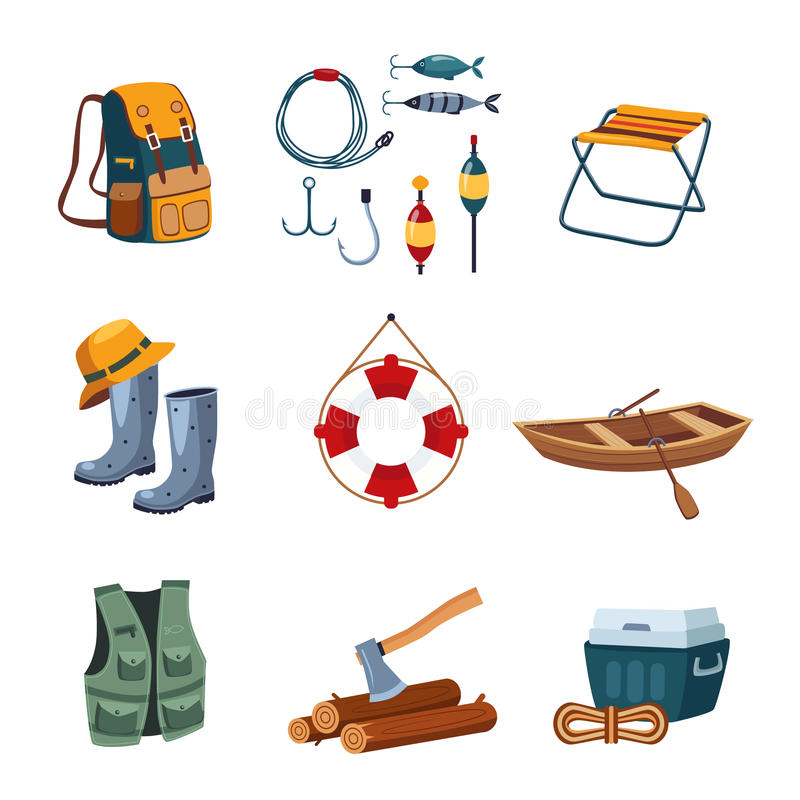 Fishing and Camping Equipment in Flat Design stock illustration