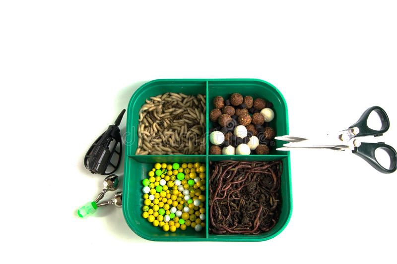 Fishing carp, , bait for , fish , tools and accessories . stock image