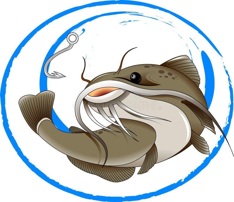 Fishing for catfish. The figure shows the fish catfish stock illustration