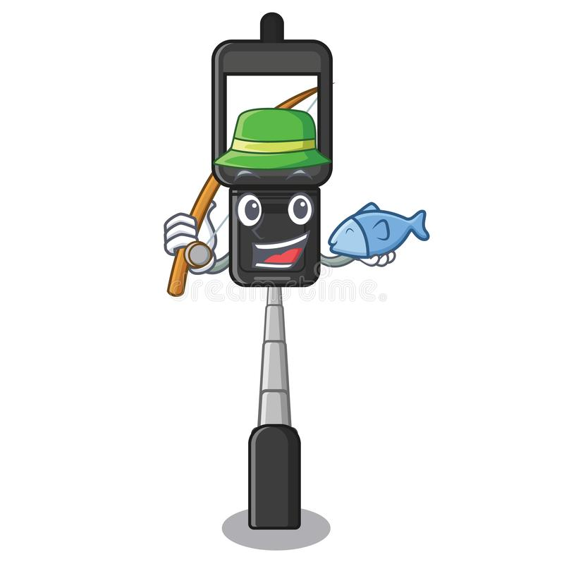 Fishing cell phone holder on a character vector illustration