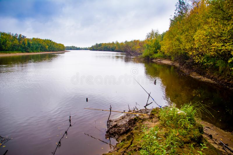 The fishing on the channel of the river Nadym. Yamal. Arctic nature stock images