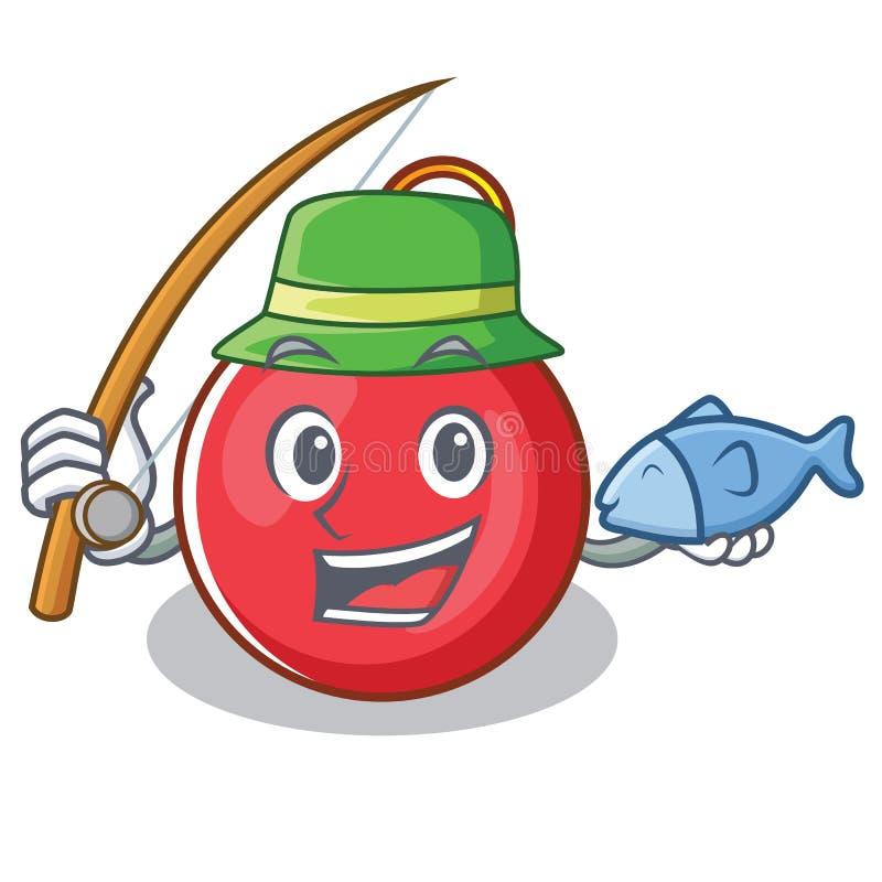 Fishing Christmas ball character cartoon royalty free illustration