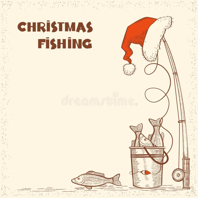 Fishing in Christmas night.Vintage winter image with fishing tackle and catch fishes card background stock illustration