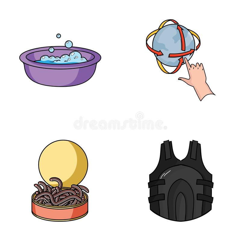 Fishing, cleaning and other web icon in cartoon style.technology, weapons icons in set collection. Fishing, cleaning and other icon in cartoon style.technology stock illustration