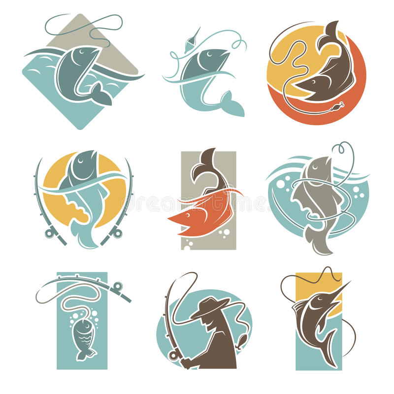 Fishing club or fisherman fish catch vector icons. Fishing club vector flat icons of fish catch and fisherman tackle. Isolated emblems of fisher man with fish vector illustration