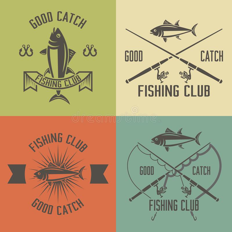 Fishing club set of vector vintage emblems stock illustration
