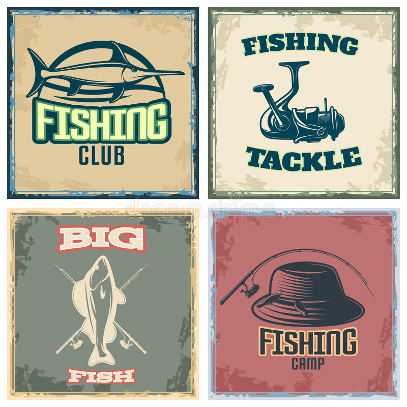 Fishing Colored Compositions royalty free illustration