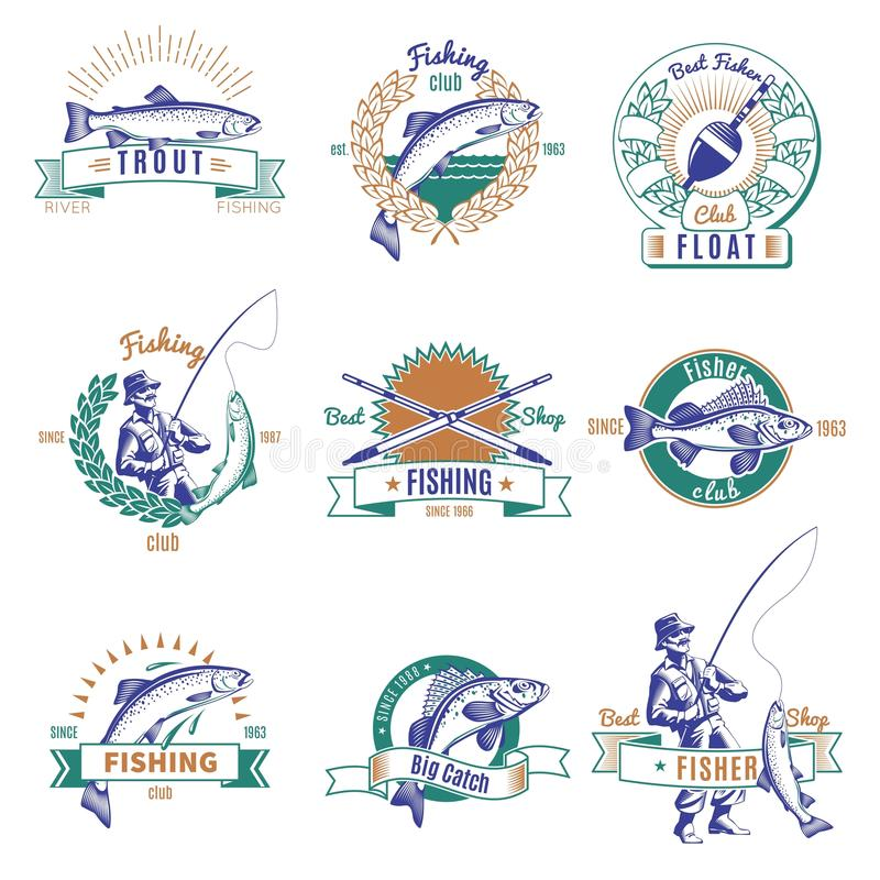 Fishing Colorful Labels Set royalty free illustration