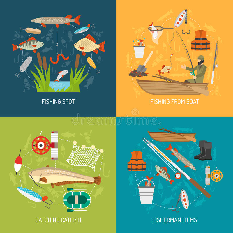 Fishing Concept Icons Set vector illustration