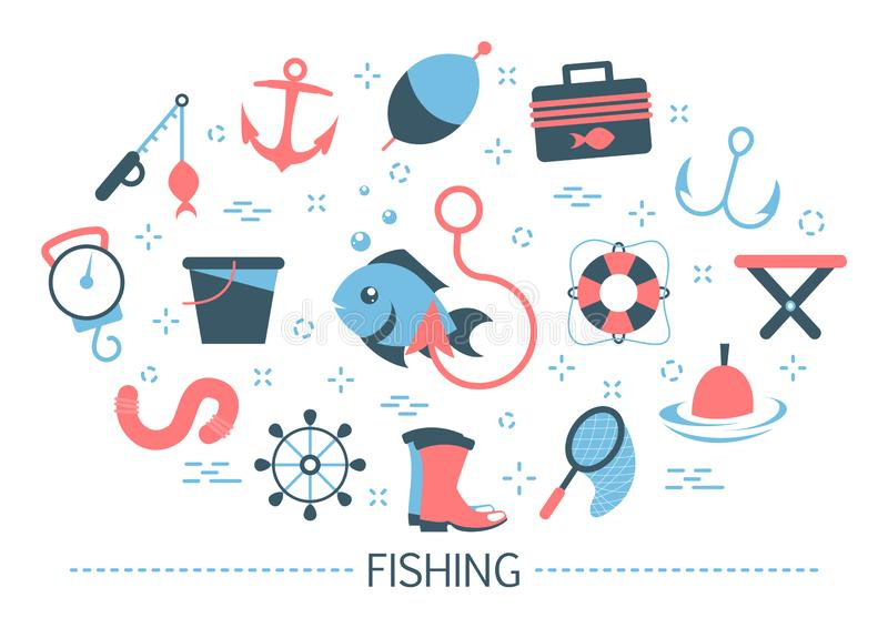 Fishing concept. Idea of outdoor activity and hobby vector illustration