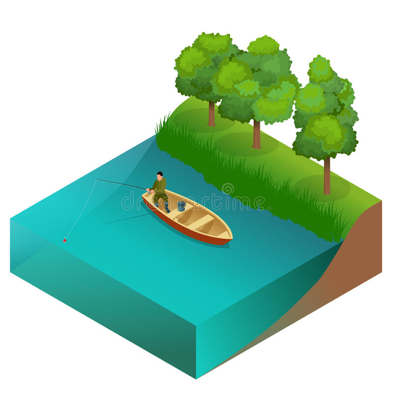 Fishing concept. Man fishing on a lake from the boat. Fisherman with rod. Flat 3d vector isometric illustration. stock illustration