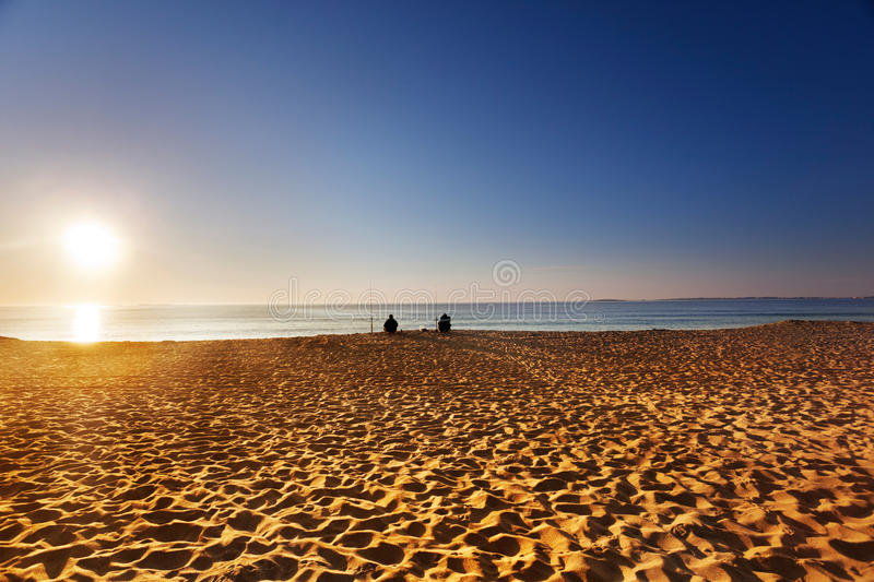 Download Fishing at dawn from beach stock photo. Image of horizontal - 20544406