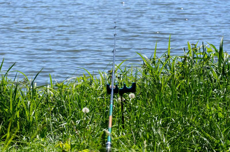 Fishing day at forest lake stock image