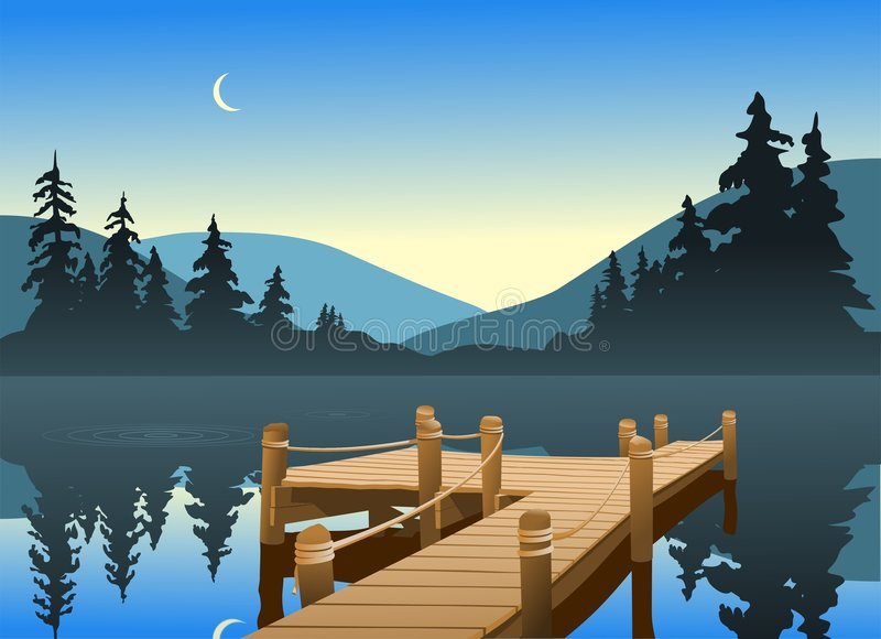 Download Fishing Dock stock vector. Image of sunrise, sunset, peace - 4559631
