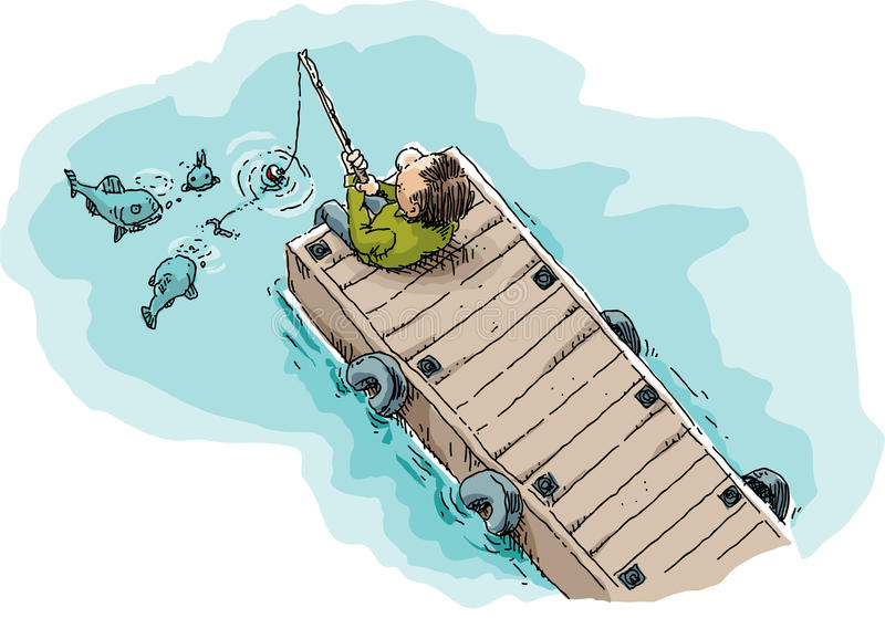 Fishing on a Dock. Cartoon illustration of a single man sitting and fishing on a long, wood dock showing fish attracted by the worm on the fishhook vector illustration