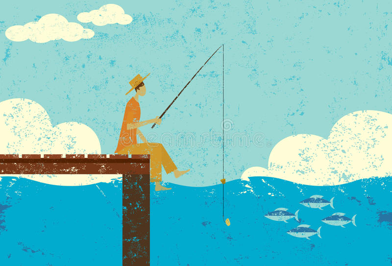 Fishing on a dock. A man in tattered clothes fishing on the end of a dock stock illustration
