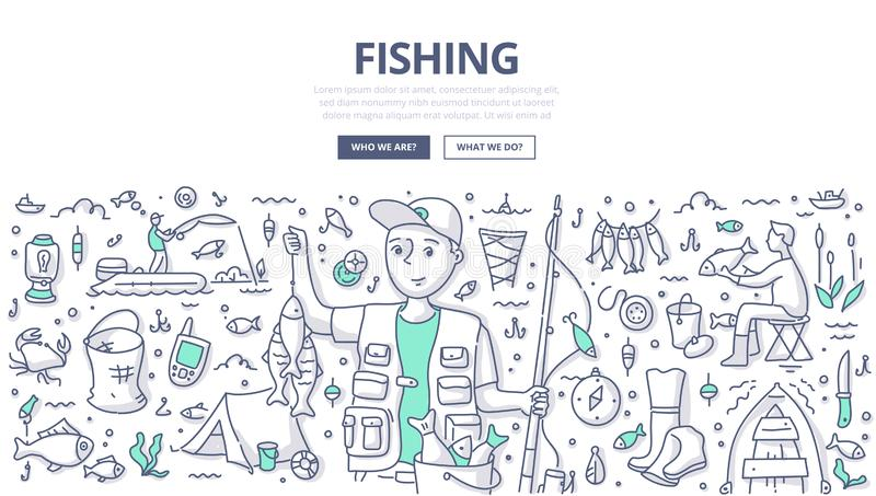 Fishing Doodle Concept. Fisherman holding a catch and rod. Doodle concept of fishing for web banner, hero images and printing materials vector illustration
