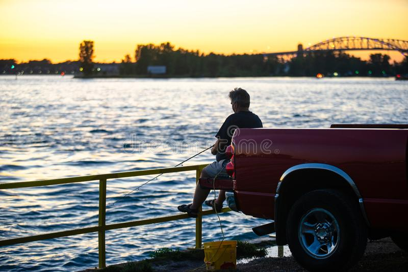 Fishing at the end of the day royalty free stock photos