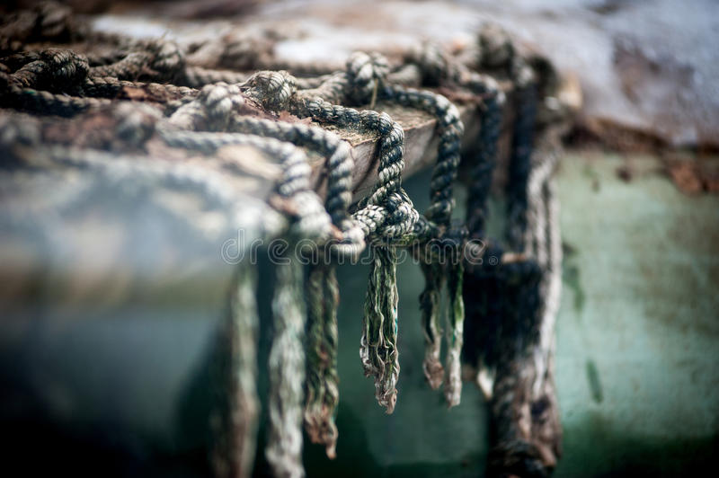 Fishing equipment. Closeup of old net. royalty free stock images