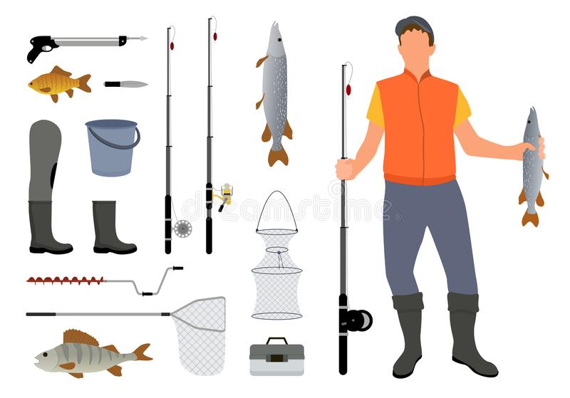 Fishing Equipment and Fisher with Catch Color Card. Set of different tools for professional male hobby vector illustration, fish-rods boots and harpoon royalty free illustration