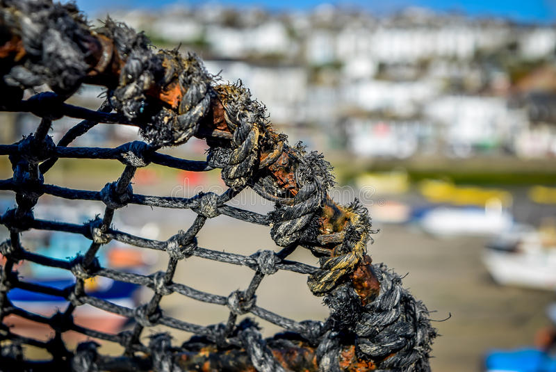 Fishing Equipment in St Ives. Close up of Fishing nets and cages in St Ives, Cornwall stock image