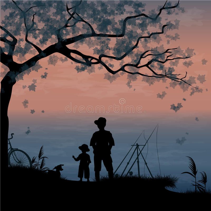 Fishing. Father and son. Fisherman with son and dog. Male vacation. Summer holidays. Vector, EPS 10 stock illustration