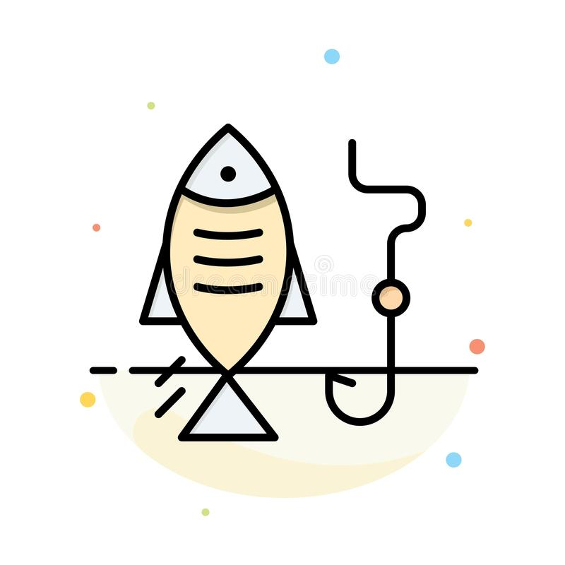Fishing, Fish, Hook, Hunting Abstract Flat Color Icon Template stock illustration
